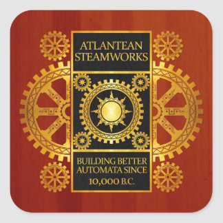Atlantean Steamworks - Gold & Leather on Wood Square Sticker
