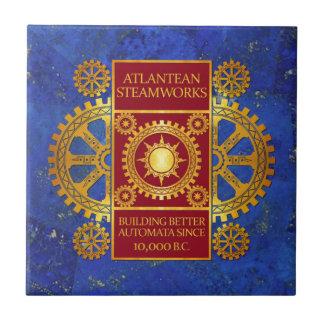 Atlantean Steamworks - Gold & Red on Lapis Lazuli Small Square Tile