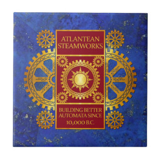 Atlantean Steamworks - Gold & Red on Lapis Lazuli Tile