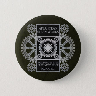 Atlantean Steamworks - Silver on Black & Green 6 Cm Round Badge