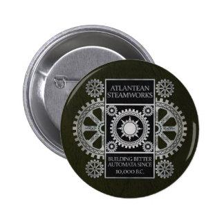 Atlantean Steamworks - Silver on Black & Green 6 Cm Round Badge