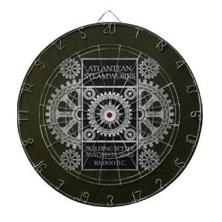 Atlantean Steamworks - Silver on Black & Green Dartboards
