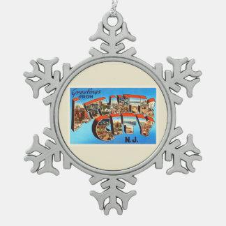 Atlantic City 1 New Jersey NJ Vintage Travel - Snowflake Pewter Christmas Ornament