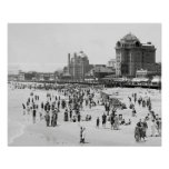 Atlantic City Beach, 1910. Vintage Summer Photo Poster