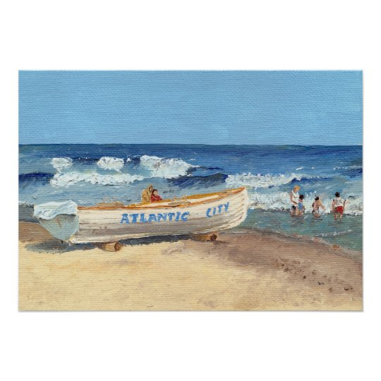 Atlantic City Beach Painting Poster