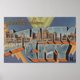 Atlantic City New Jersey Boardwalk Scene Posters