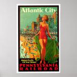 Atlantic City New Jersey Girl Vintage Travel Poster