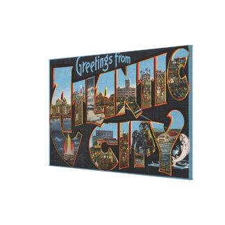 Atlantic City, New Jersey - Large Letter Scenes Canvas Print