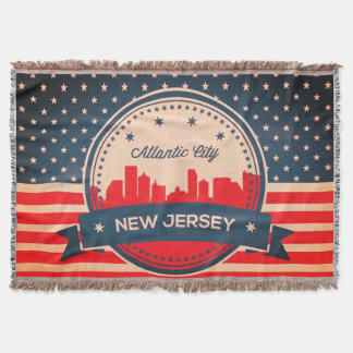 Atlantic City New Jersey Retro Skyline Throw Blanket