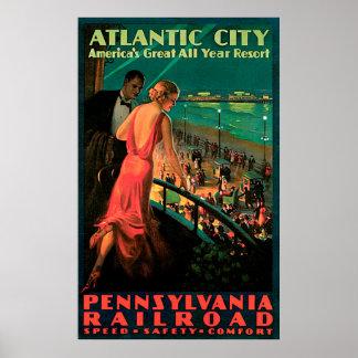 Atlantic City New Jersey Vintage Travel Poster