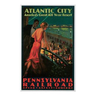 Atlantic City New Jersey Vintage Travel Poster