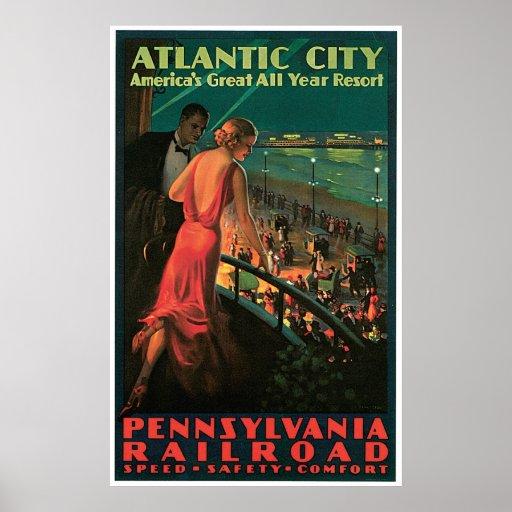 Atlantic City New Jersey Vintage Travel Print
