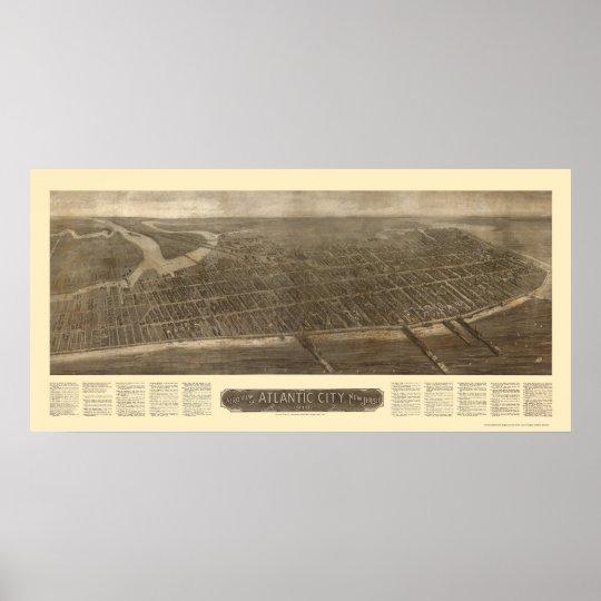 Atlantic City, NJ Panoramic Map - 1910 Poster
