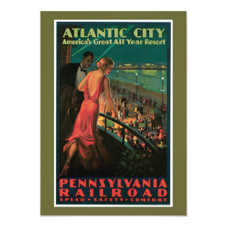 Atlantic City/ Pennsylvania Railroad Vintage 13 Cm X 18 Cm Invitation Card