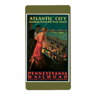 Atlantic City/ Pennsylvania Railroad Vintage Shipping Label