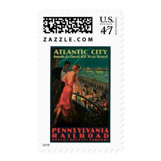 Atlantic City/ Pennsylvania Railroad Vintage Postage Stamps