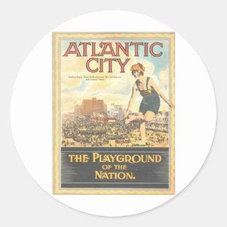 Atlantic City-Playground of the Nation Classic Round Sticker