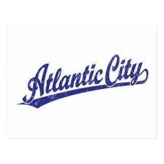 Atlantic City script logo in blue Postcard