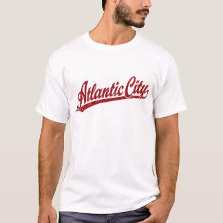 Atlantic City script logo in red T-Shirt