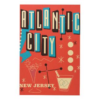 Atlantic city Vintage gambling travel poster Wood Prints