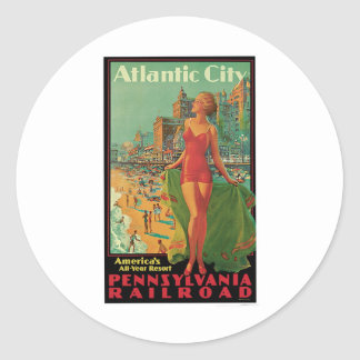 Atlantic City Vintage Travel Classic Round Sticker