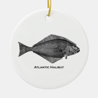 Atlantic Halibut Vintage Line Art Christmas Ornament
