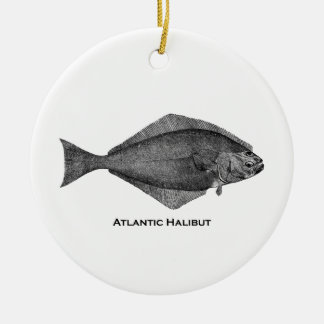 Atlantic Halibut Vintage Line Art Round Ceramic Decoration