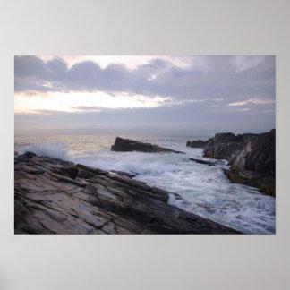 Atlantic Ocean at Sunrise in Maine Poster