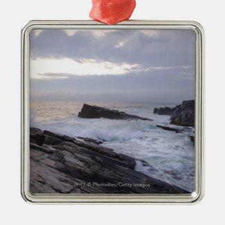 Atlantic Ocean at Sunrise in Maine Silver-Colored Square Decoration