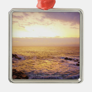 Atlantic Ocean at sunrise, view from Portland Silver-Colored Square Decoration