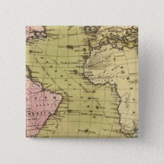 Atlantic Ocean Atlas Map 15 Cm Square Badge