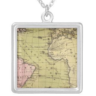 Atlantic Ocean Atlas Map Silver Plated Necklace