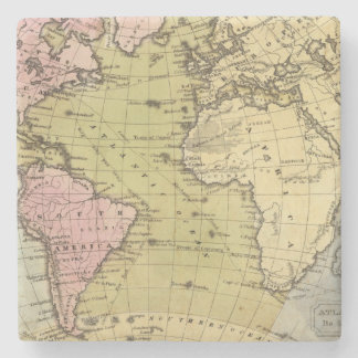 Atlantic Ocean Atlas Map Stone Coaster