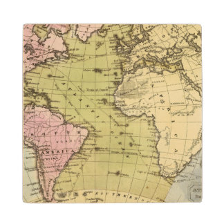 Atlantic Ocean Atlas Map Wood Coaster