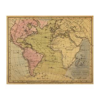 Atlantic Ocean Atlas Map Wood Print