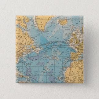 Atlantic Ocean Map 15 Cm Square Badge