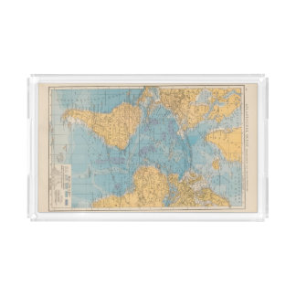 Atlantic Ocean Map Acrylic Tray