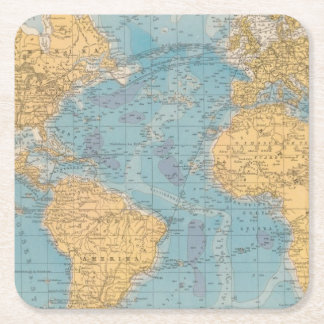 Atlantic Ocean Map Square Paper Coaster