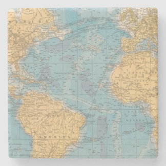Atlantic Ocean Map Stone Beverage Coaster