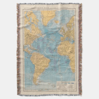 Atlantic Ocean Map Throw Blanket