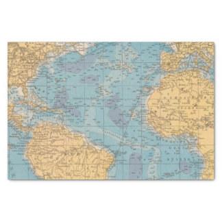Atlantic Ocean Map Tissue Paper