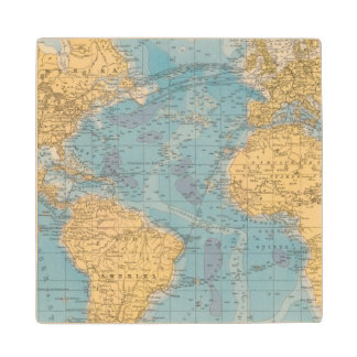 Atlantic Ocean Map Wood Coaster