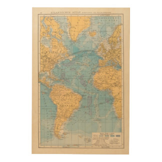 Atlantic Ocean Map Wood Print