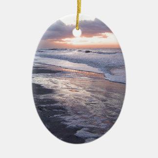 Atlantic Ocean Sunrise Ceramic Oval Decoration