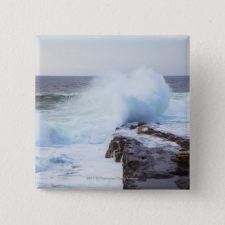 Atlantic Ocean Wave Crashing into Maine's Coast 15 Cm Square Badge