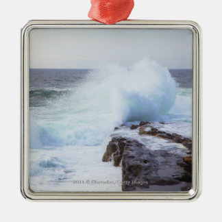 Atlantic Ocean Wave Crashing into Maine's Coast Christmas Ornament