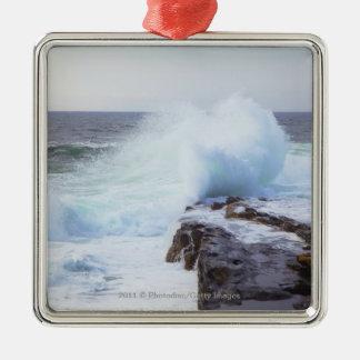Atlantic Ocean Wave Crashing into Maine's Coast Silver-Colored Square Decoration