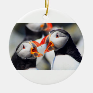 Atlantic Puffin mouths Christmas Ornament
