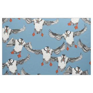 Atlantic Puffins blue Fabric