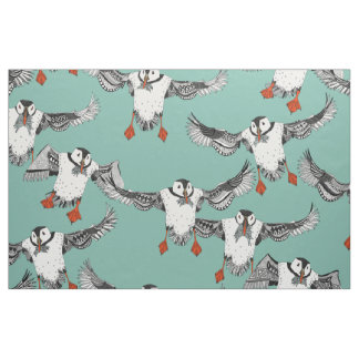 Atlantic Puffins mint Fabric